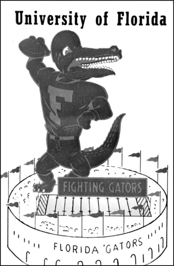 """Fighting Gators,"" logo of the University of Florida: Gainesville, Florida (ca. 1960s – 70s)"