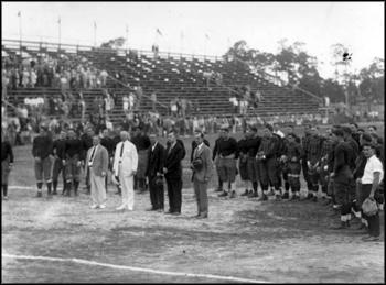 Singing of the national anthem at a University of Miami football game: Miami, Florida (ca. late 1920s)