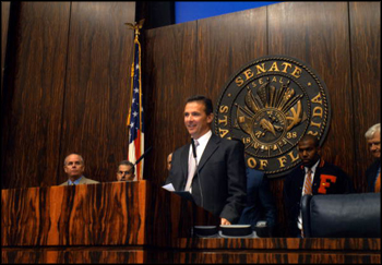 "UF football coach Urban Meyer speaking during the ""Gator Day"" festivities at the Florida Legislature: Tallahassee, Florida (2009)"