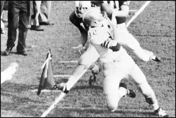 Lane Fenner catching football in FSU-Florida game: Tallahassee, Florida (1966)
