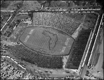 Aerial view of the Gator Bowl Stadium during show at the 1954 game between Auburn University and Baylor University: Jacksonville, Florida (1954)
