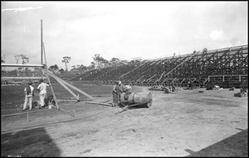 Football stadium under construction at the University of Miami: Coral Gables, Florida (1925)