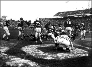 Close up view of the Orange Bowl: Miami, Florida (1950)