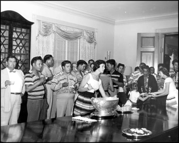 Mary Call Collins and her daughters hosting a delegation of Seminole Indians at The Grove (1956)
