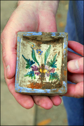 Painted ceramic artifact piece found during excavation of cistern at The Grove (2011)