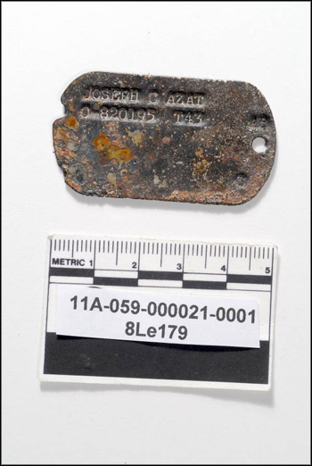 Dog tags for 2nd Lt. Joseph G. Azat (Kingston, PA), found during excavation of cistern well at The Grove (2011)