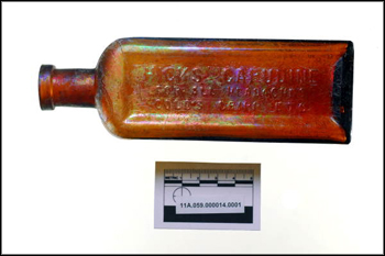 Late 19th century glass bottle found during excavation of cistern well at The Grove (2011)