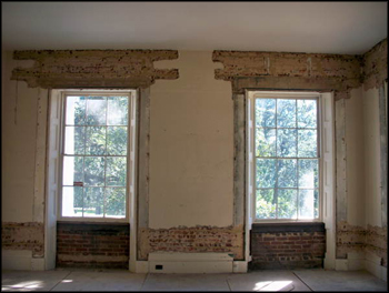 Interior brick wall prepared for restoration at The Grove (2011)