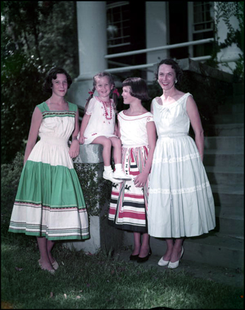 Mary Call Collins and her daughters at The Grove (between 1955 and 1961)
