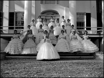 May Day Queen Kay Lamb and her court on the steps of The Grove (1960)