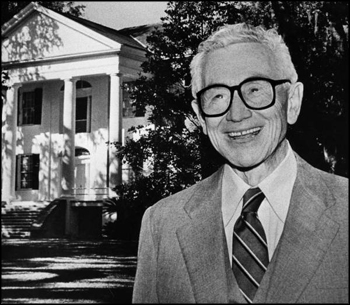 Former Florida Governor LeRoy Collins in front of his home The Grove (1985)