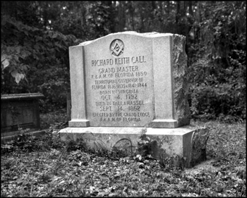 Richard Keith Call's headstone in the cemetary at The Grove (20th century)
