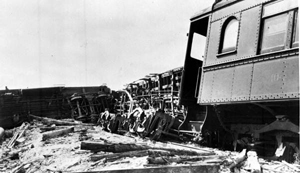 Damaged Florida East Coast Railroad train from 1935 hurricane