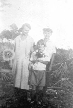 Rickel family after the 1926 hurricane wrecked their home: Miami, Florida