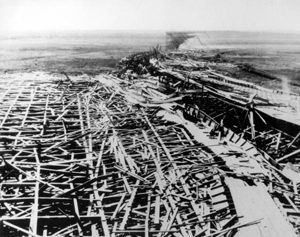 Remains of Fulford Speedway after being struck by a hurricane
