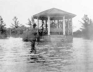 Gazebo under water after hurricane of 1926: Boca Grande, Florida