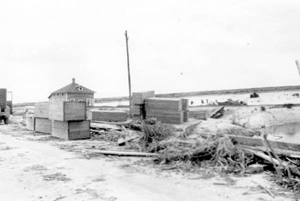 Coffins stacked beside the road between Belle Glade and Pahokee, after the hurricane of 1928: Palm Beach County, Florida
