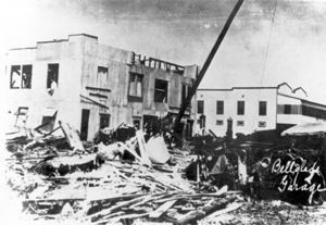 Automotive garage, demolished by the hurricane of 1928: Belle Glade, Florida