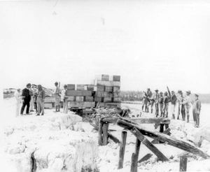Soldiers assisting with the disposition of bodies of victims of the 1935 hurricane: Snake Creek, Florida