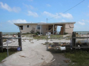 Home damaged by Hurricane Dennis: Alligator Point, Florida (July 9, 2005)