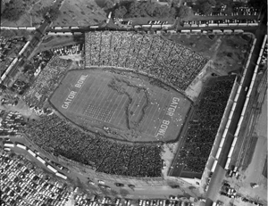 Aerial view of the Gator Bowl football stadium in Jacksonville (1954)