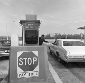 Alligator Alley toll booth area: Everglades, Florida (1969)