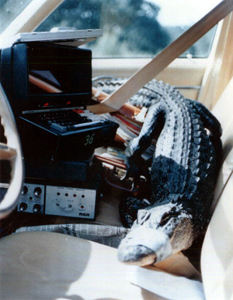 Alligator and scientific equipment in the cab of a car (19--)