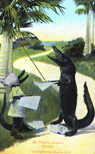 "Postcard featuring alligators: ""The Private Lesson"" (1893)"