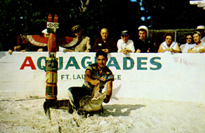 Seminole alligator wrestling at Aquaglades: Dania, Florida (1950s)