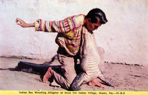 Indian boy wrestling alligator at Musa Isle Indian village: Miami, Florida (19--)