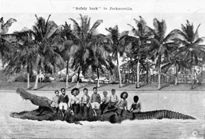 Postcard of children with alligator (1910s)
