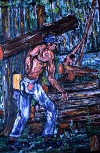 "Painting, ""Workmen in Woods"", by Pharoah Baker: Lake City, Florida (1982)"