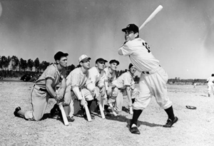 Charlie Keller demonstrating home run swing at Baseball School: Bartow, Florida (1948)
