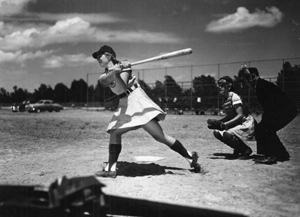 View of All American Girls Professional Baseball League member Dottie Schroeder getting a hit: Opa-locka, Florida (1948)