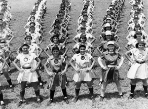 All American Girls Professional Baseball League members performing calisthenics: Opalocka, Florida (1948)