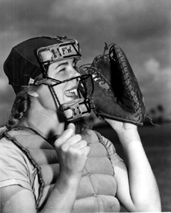 Dottie Schroeder, catcher, shouting play ball  (1948)