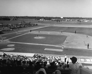 View of a baseball spring training game: Lakeland, Florida (1967)