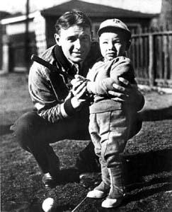 Baseball Hall of Famer Fred Lindstrom with his son Andy: Tallahassee, Florida (1936)
