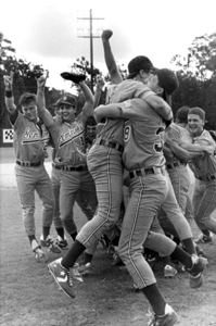 FSU's baseball team celebrates their victory: Tallahassee, Florida (1991)