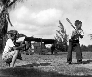 Boys playing baseball at Boynton playground (1935)