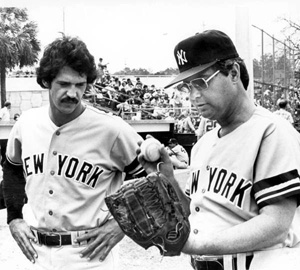 Florida Governor Bob Graham wearing a New York Yankees uniform (1980)