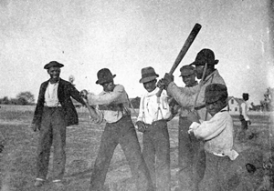 African American young men posing for baseball: Apalachicola, Florida (1895)