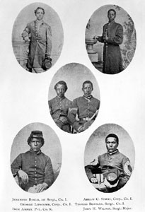 Portraits of six soldiers of the 54th Regiment, Massachusetts Volunteers