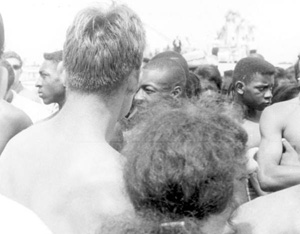 "Segregationists and black demonstrators at a ""white only"" beach: Saindt Augustine, Florida (1964)"