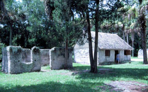 Old slave quarters at historic Kingsley Plantation site: Fort George Island, Florida