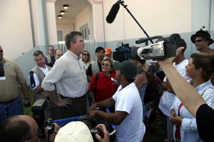 Governor Jeb Bush and Congresswoman Ileana Ros-Lehtinen during their visit to Key West High School following Hurricane Wilma (2005)