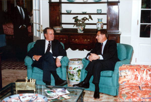 President George H.W. Bush visiting with Governor Martinez at the mansion: Tallahassee, Florida (1990)