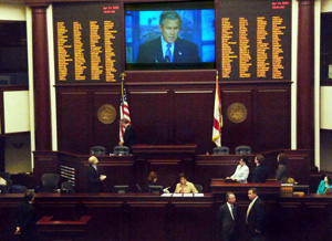 President George W. Bush addressing the Florida legislature about the space program (2005)