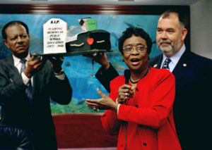 Rep. Arthenia Joyner, D-Tampa, center, debates in opposition to an inadequate education funding proposal considered on the House floor during the 2003 Legislature