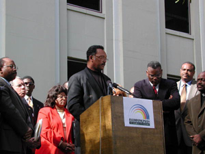 Jesse Jackson speaking at the capitol during the 2000 presidential election vote dispute (2000)